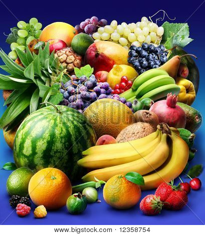 fruit & berries; Objects on blue background