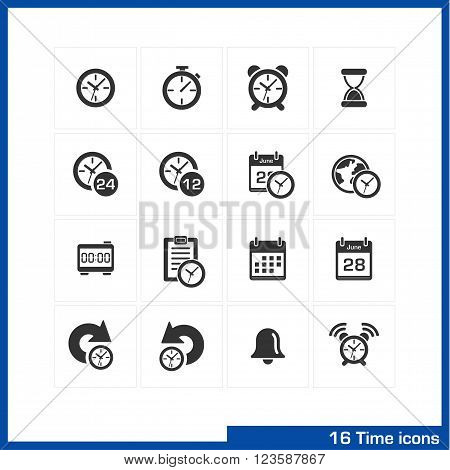Date and time icons set. Vector black pictograms for business, management, web, internet, computer and mobile apps, interface design. clock, alarm, bell and calendar symbols