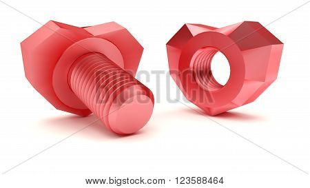 Heart shape of nut and bolt. Love concept. 3d illustration