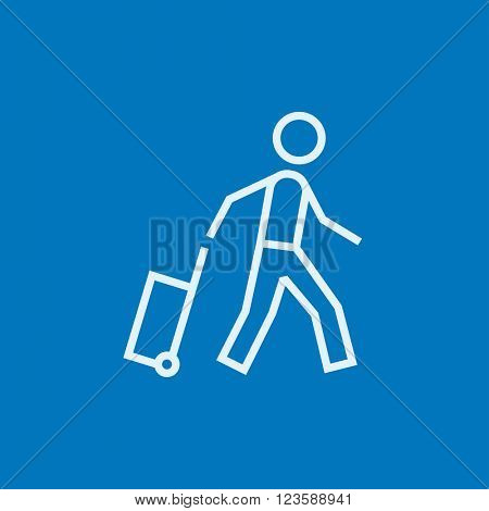 Man with suitcase line icon.