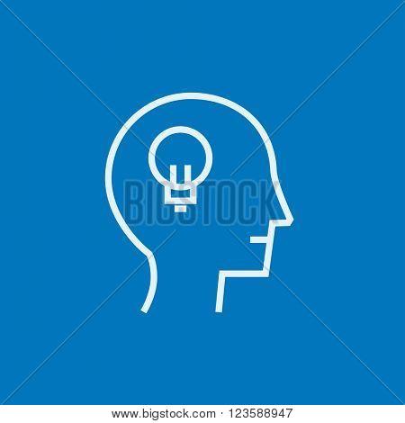 Human head with idea line icon.