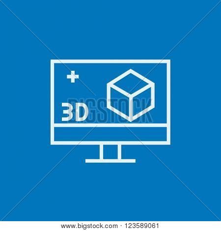 Computer monitor with 3D box line icon.