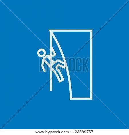 Rock climber line icon.