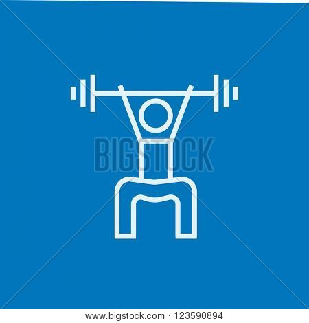 Man exercising with barbell line icon.