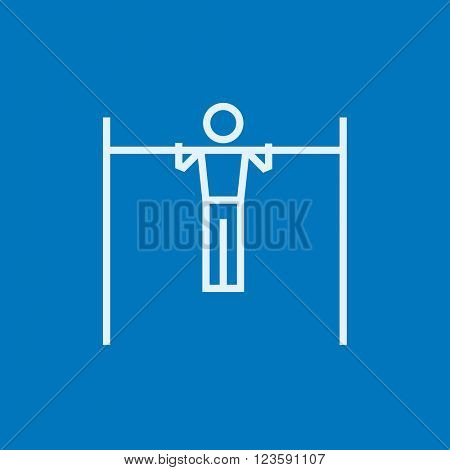 Gymnast exercising on bar line icon.