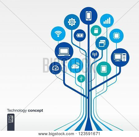 Abstract technology background with lines, circles and icons. Growth tree circuit concept with mobile phone, technology, laptop, cloud computing, usb, pad and router icons. Vector illustration.