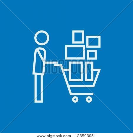 Man pushing shopping cart line icon.