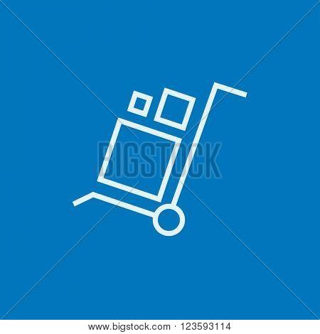 Shopping handling trolley line icon.
