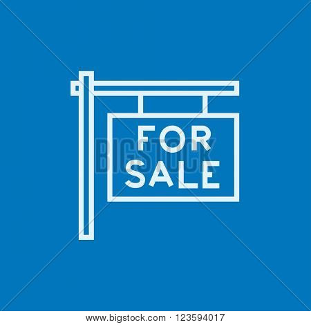 For sale placard line icon.