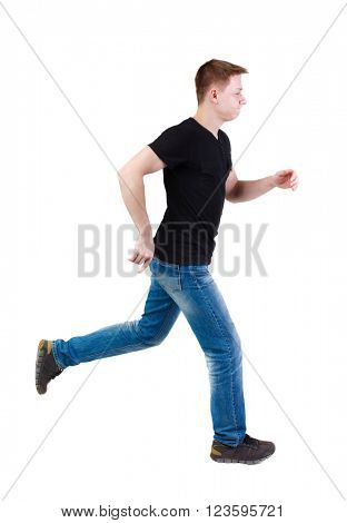 Side view of running man in t-shirt. Walking guy in motion. Rear view people collection.
