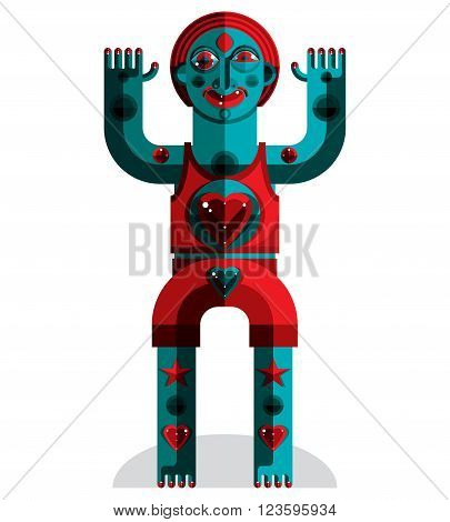 Graphic Vector Illustration, Anthropomorphic Character Isolated On White, Decorative Modern Avatar M