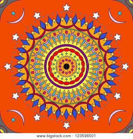 Seamless colorful mandala pattern in vivid colors