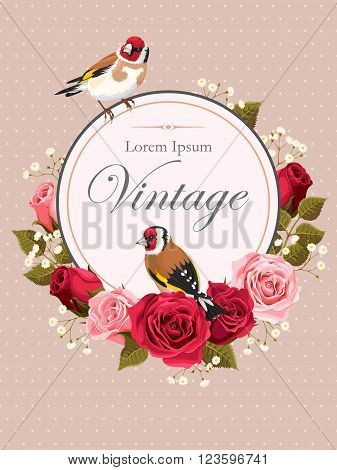 Vector vintage card with pink and red roses and goldfinch