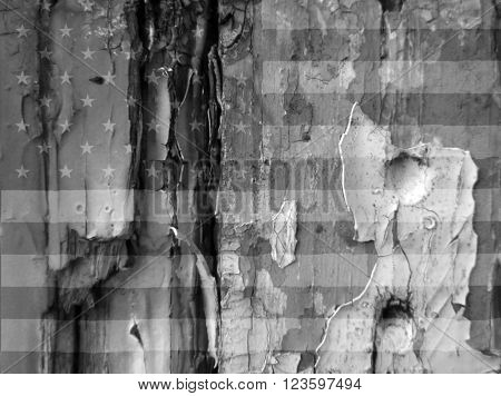 Grunge image showing the USA flag overlaid over flaky paint on old wooded door