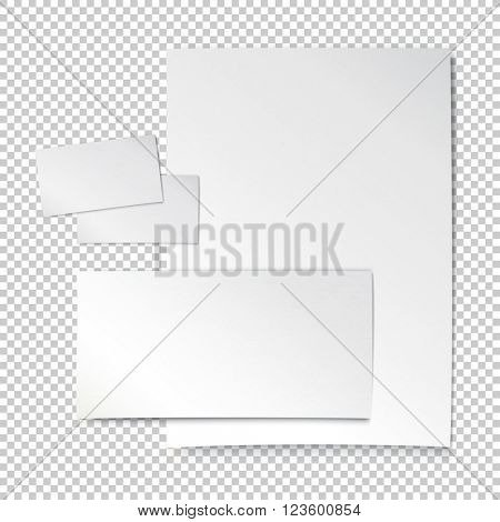 Corporate identity template. Empty letter envelope, business card and paper sheet. On transparent background.