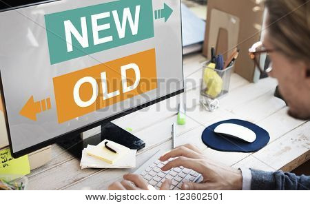 New Old Current Previous Latest Modern Business Concept