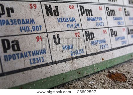 Uranium on soviet Periodic table in abandoned school