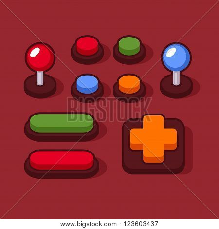 Colorful Buttons and Joysticks Set for Arcade Machine. Vector illustration
