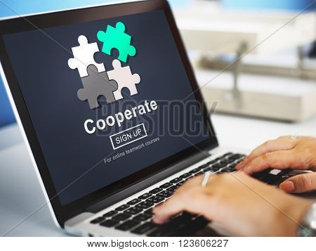 Cooperate Participate Join Teamwork Concept