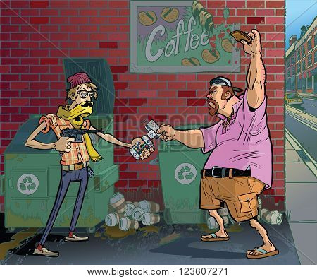 Vector cartoon illustration of a hipster robbing or mugging an aging frat guy at gunpoint in an alley behind a coffee shop using a vintage pistol, a smartphone credit card reader, and a scarf with a mustache on it.