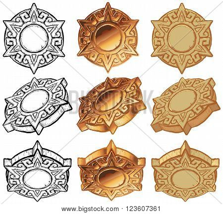 A vector art illustration aztec style sun medallion icon set. Includes the medallion graphic element shown from 3 angles in 3 color variations of each: black and white, metallic, gold, and stone.