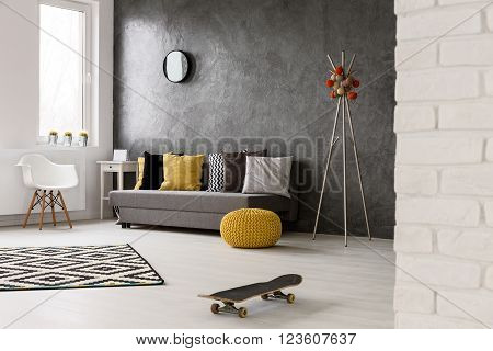 Grey Home Interior With Trendy Decorations