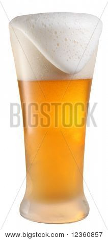 glass of beer on a white background