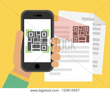 Scan QR code to Mobile Phone. Electronic scan, digital technology, barcode. Flat design modern vector illustration