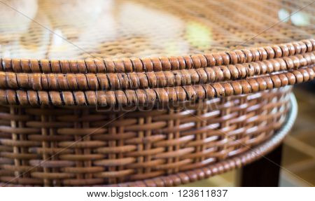 Mirror reflect of rattan weave table stock photo