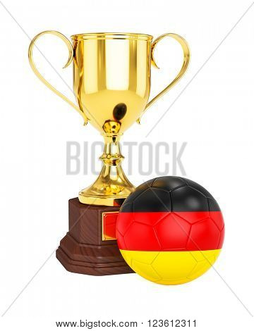 3d rendering of gold trophy cup and soccer football ball with Germany flag isolated on white background