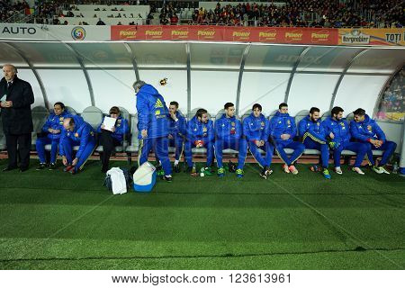 National Football Team Of Spain During A Match