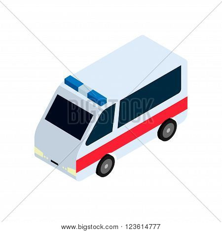 The ambulance in an isometric view. Stock Vector Isometric-style games, infographics, reports, websites and icons