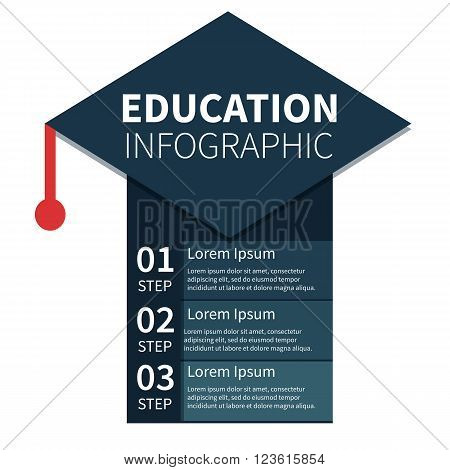 Academic cap education infographic template. Concept vector infographic. Template can be used for infographics banners presentations. Template with text fields isolated on white background.