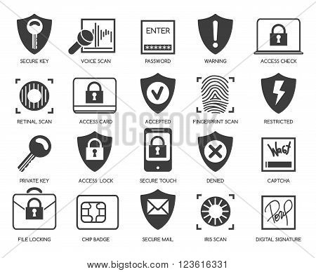 Business data security icons. Business technology protection line icons. Vector illustration