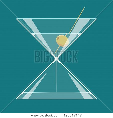 Martini hourglass. A glass of martini in the form of hourglass. Endless party or Happy hours concept illustration. EPS 10. Transparency used.