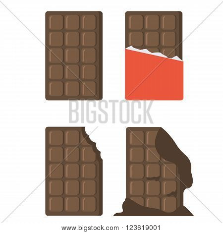 Flat chocolate bars icons. Vector chocolate bars isolated on white background. Chocolate bar with wrapper melted chocolate bar bitten chocolate bar.