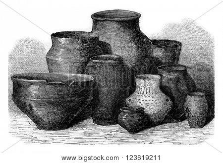 Manufacture de Sevres, Gallic pottery, vintage engraved illustration. Magasin Pittoresque 1873.