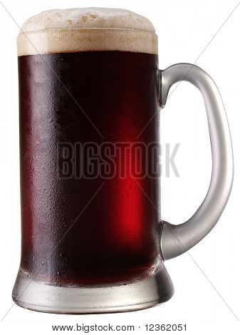 Frosty mug of  beer isolated on a white background. File contains a path to cut.