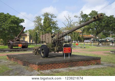 HUE, VIETNAM - JANUARY 08, 2016: American 122-mm gun in Hue. The landmark of Hue, Vietnam