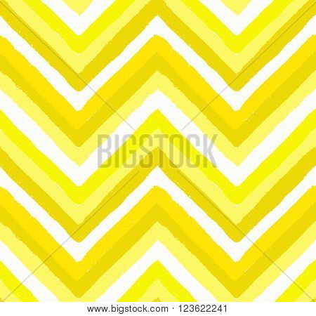 Vector Chevron Seamless Pattern. Painted background, zigzag brush strokes composition. White and yellow vector chevron pattern. Painted texture vector.