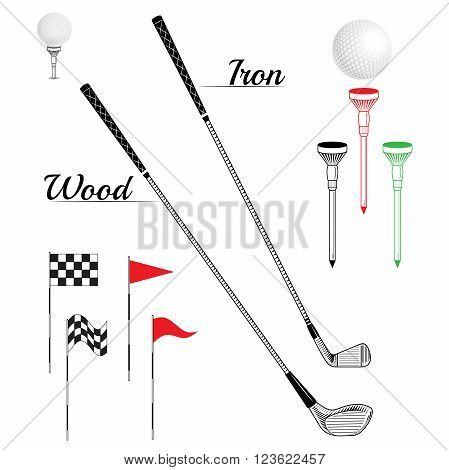 Sport elements can use for web site print magazine T-shirt. Golf icon set. Vector Set Golf Equipment Icons. Golf collection include: flag holeball tee stick club