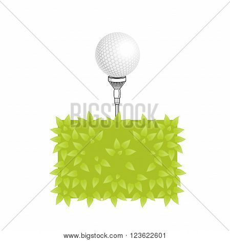 Golf vector logo. Golf tee with realistic ball on grass. Golf elements on isolated background with space for text. Vector bush golf ball tee