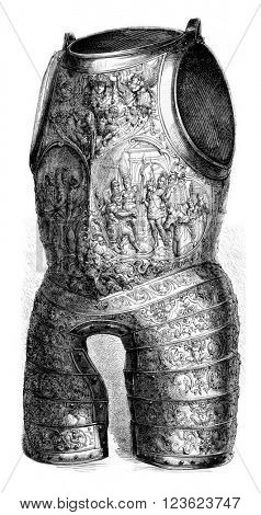 Battleship and strikes the armor of Henry II, vintage engraved illustration. Magasin Pittoresque 1873.