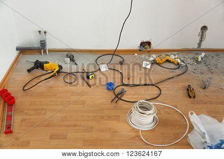Place Of Electric Socket Repair Process
