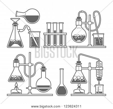 Set chemical flask. Erlenmeyer flask distilling flask volumetric flask test tube. Vector illustration.