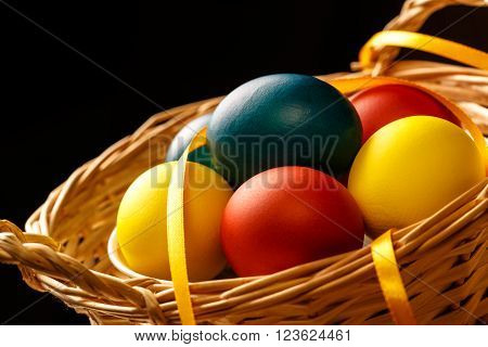 Easter Eggs In Basket Closeup