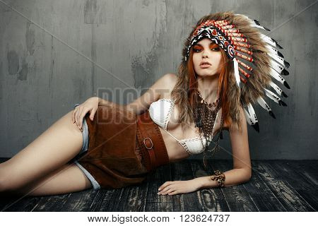 Fashion young lady in the Indian roach