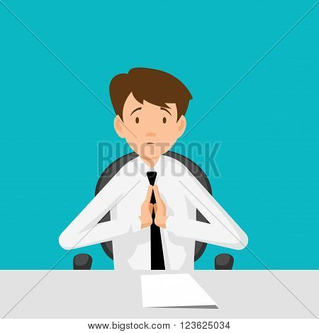 Businessman manager consultant at work. I beg you I implore you. Flat Design Vector illustration.