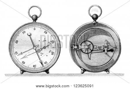 Barometer offset metal to the heights of 6000 meters, Exterior and interior, vintage engraved illustration. Magasin Pittoresque 1870.