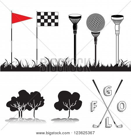 Set Of Golf Equipment Icons